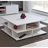 Marca Amazon - Movian Segre - Mesa de centro, 70 x 70 x 29 cm (largo x ancho x alto), blanco