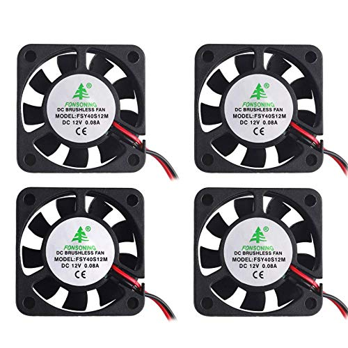 Makerfire 4pcs Impresora 3D Ventilador 12V 0.08A DC Ventilador Mini Quiet 40X40X10mm con 28cm de cable para impresora 3D, DVR y otros dispositivos Reemplazo de reparación de la serie
