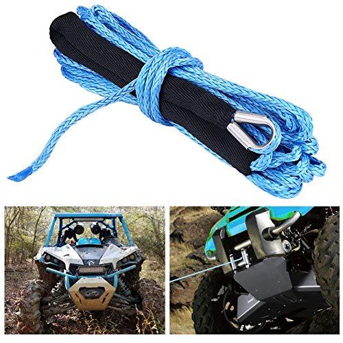 Dibiao Cable de Línea de Cuerda de Cabrestante Sintético de 1/4 * 49 Que Evita El Sobrecalentamiento con Funda Protectora 6600 Lbs Antiabrasión para Camión Atv Utv (Azul)