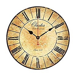 EnjoyHome Crack Background Chester Paris Wooden Clock Wall Art Decorative Round Farmhouse Design Nursery Clock for Kids Room 10 inch