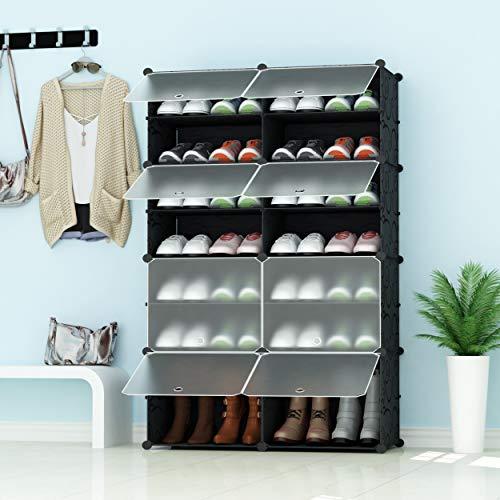 JOISCOPE PREMAG Portable Schuhablage Organizer Tower, Schwarz mit transparenten Türen, Modular Cabinet Regale für platzsparende, Schuhregal Regale für Schuhe, Stiefel, Hausschuhe 2 * 7
