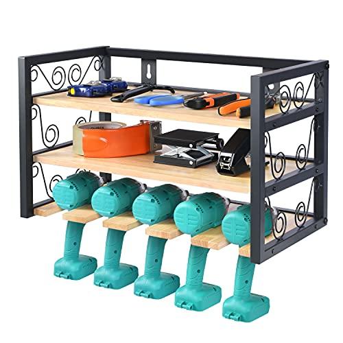 Power Tool Organizer, Drill Holder Wall Mount, Cordless Tool Storage, Large Storage Capacity Power Tool Holder, 5 Drill Rack Power Tool Storage Organizer for Warehouse, Workshop, Garage