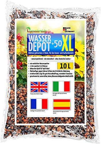 Humusziegel - deposito d acqua +50 XL granulato di argilla espansa 4-8mm rotto, deposito di acqua, contro erbacce e ristagno d acqua 10 L