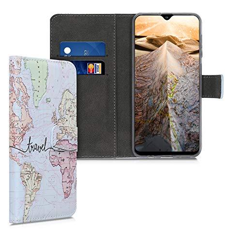 kwmobile Carcasa Compatible con Samsung Galaxy A30s - Funda de Cuero sintético Mapa Mundial - con Tarjetero