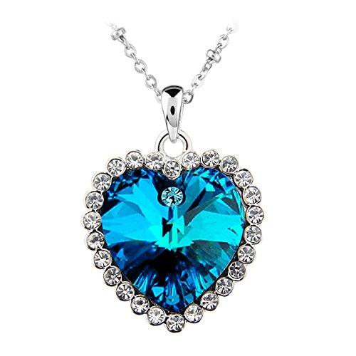 Le Premium® - titanico cuore dell'oceano Collana con pendente cuore a forma di SWAROVSKI metallico blu Cristalli