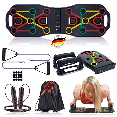 Push Up Board, Multifunktionale Liegestütze Brett mit Widerstandsband Fitness Geräte und Springseil, Fitnesstraining für zu Hause, Muskelaufbau, Training für Männer/Frauen