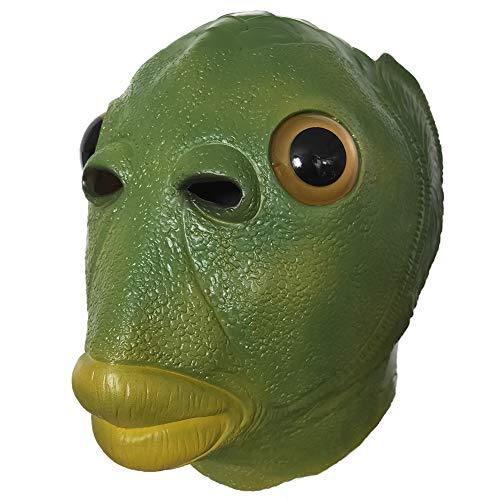 HiCollie グリーンフィッシュマスク ラテックスマスク 緑の魚マスク 動物のヘッド ギアマスク 緑の口の魚 グリーンフィッシュヘッドカバー 笑ってはいけない 被り物 仮面 変装 面白い コスプレ コスチューム お祭り 宴会 映画の小道具 パーティー