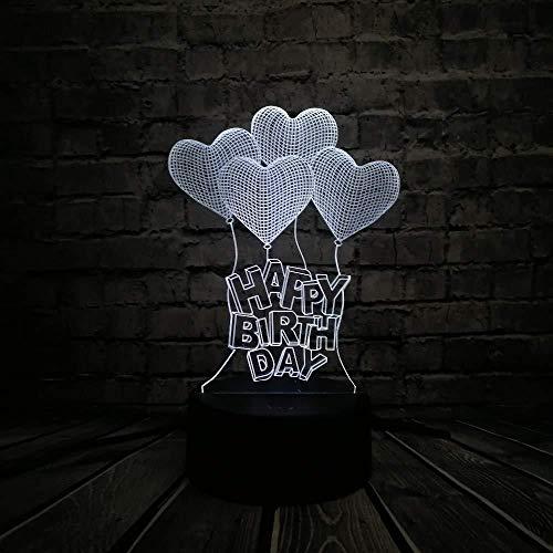 Lampen voor slaapkamer lamp 3D nachtlampje romantische liefde hart Happy Birthday LED 3D sfeerverlichting visuele illusie tafel touch nachtlampje dimmer liefhebbers geschenk met USB-afstandsbediening