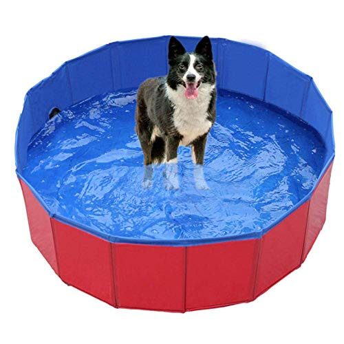 Kinderplanschbecken,Hunde-Planschbecken, Faltbare Hundebadewanne, Tragbares Becken Großes Hundebad Tonnenrot_100 × 30 cm, Hundebecken Faltbares Hundebad für Kinder
