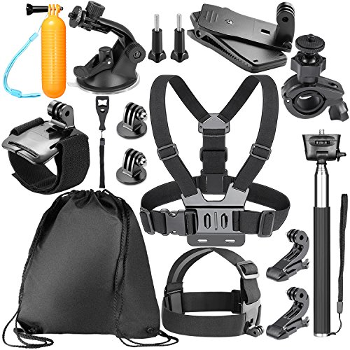 Neewer 14-in-1 Kit di Accessori per per GoPro Hero 6 5 4 3 + 3 2 1 Hero Session 5 Black AKASO EK7000, Sony Sport DV Fotocamere d'Azione, Inclusi: Pettorina, Fissaggio da Casco, Monopiede Telescopico, Maniglia Galleggiante ecc.