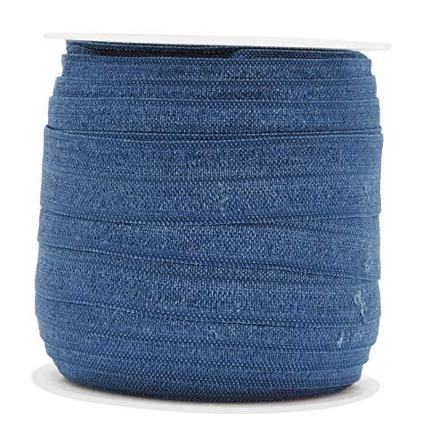 Mandala Crafts Fold Over Elastic Band 5/8 Inch Foldover FOE Stretch Ribbon for Hair Tie Headband Baby Girl Hair Bow Air Force Blue 1.5CM 5/8 Inch 20 Yards Roll