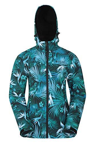 Mountain Warehouse Exodus Wasserabweisende Softshell-Damenjacke - atmungsaktive Regenjacke, länger im Rücken - großartig zum Spazierengehen, Reisen, Wandern, Frühling Blau 38