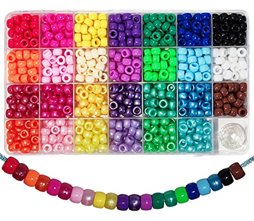 810 perline a forma di pony, 6 x 9 mm, con ampio foro per gioielli, bracciali, collane, portachiavi, fai da te (27 colori)