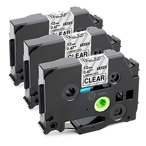 Sostituzione nastro per etichette compatibile Upwinning per nastri per etichettatrici Brother P-Touch TZe-131 Nero su laminato trasparente 12mm 0,47 pollici TZe131 TZ 131 trasparenti, confezione da 3