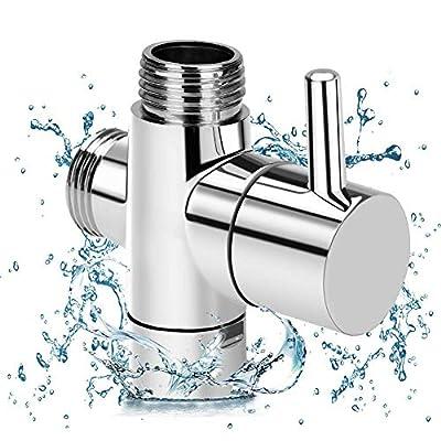 "G1/2"" Shower Head Diverter Valve, 100% Solid Brass Shower Arm Diverter Valve for Hand Held Showerhead and Fixed Spray Head, G1/2 20mm Diameter 3-Way Bathroom Universal Shower System Replacement Part"