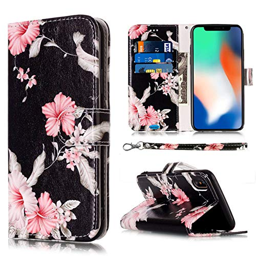 JanCalm Compatible with iPhone X Case/iPhone Xs Case, Floral Pattern Premium PU Leather Wallet - Wrist Strap Card/Cash Slots Stand Flip Cases Cover for iPhone X/XS (Black/Flower) New Hampshire