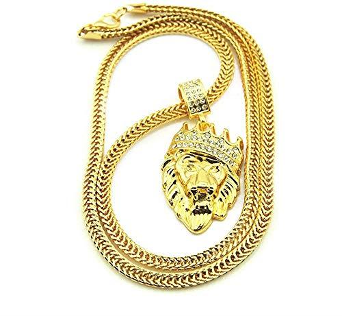 JIUJIN Collana con ciondolo in zircone re leone Hiphop Rock Street Culture Collana in acciaio con zircone intarsiato in titanio Collana uomo Gioielli