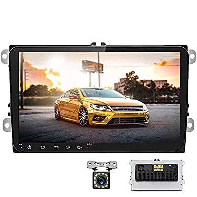 Camecho Android Car Stereo 9 Inch Double Din Car Radio for VW Passat Skoda Golf Jetta EOS Polo Tiguan Touran Seat Sharan in-Dash Head Unit Touch Screen with Bluetooth/GPS/WiFi/USB+ Rear View Camera