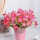 PerGrate Lily Fleur Artificielle, 18 têtes Calla Lily réel Toucher Fleurs Bouquet vases Mariage fête décoration de la Maison Faux Floral (Rose Rouge)