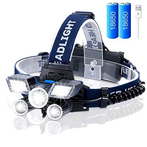 VABOO Linterna Frontal LED Recargable, 12000 Lúmenes Luz Frontal Cabeza 9 Modos Impermeable Lámpara de Cabeza Alta Potencia, Linterna de Cabeza Super Brillante para Correr, Acampar, Caza