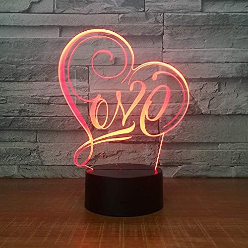 3D LED lámparas Amor Corazón ilusion optica luz de noche 7 colores Contacto Arte Escultura luces con cables USB Lampara Decoracion Dormitorio escritorio mesa para niños adultos