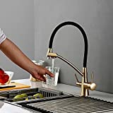 Mat Color oro viejo Osmosis reversa Tri Flow Filtro de agua Grifo Mezclador de fregadero de 3 vías Cocina de tres vías Apague el grifo
