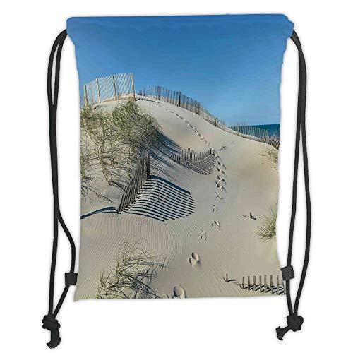 Rucksäcke mit Kordelzug, Strand, Sanddüne mit Gräser und Zaun Küstenlandschaft, fantastischer, friedlicher Weltraum, cremeblauer weicher Satin, 5 Liter Fassungsvermögen, verstellbarer Schnurverschluss