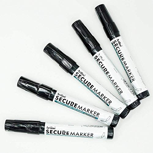 Secure Marker Redacting Pen | Blackout Marker | Blacks Out Private Information (5 Markers)