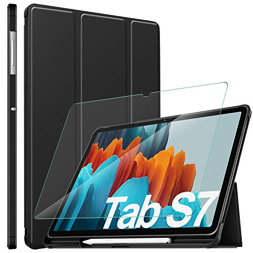 "ELTD per samsung galaxy tab S7 Custodia Cover+ per samsung galaxy tab S7 Pellicola Protettiva, Cover e Vetro Temperato Pellicola per Samsung Galaxy Tab S7 (SM-T870/875) 11""WQXGA (1 PACK+Nero)"