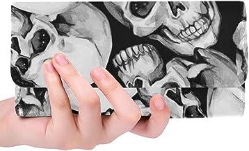 Unique Custom Skulls Hand Painted Women Trifold Wallet Long Purse Credit Card Holder Case Handbag