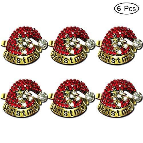 Getfitsoo Napkin Rings, Christmas Napkin Rings Set of 6, Christmas Party Dinner Table Decor (Red Christmas-hat)