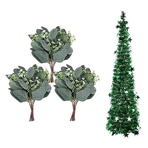 Timagebreze 3.94FT Collapsible Christmas Tree Tinsel Xmas Tree with 20 Pcs Artificial Eucalyptus Leaf Stem