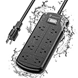 ESHLDTY 8-Outlets Outdoor Power Strip Weatherproof, Mountable Surge Protector with 6ft Extension Cord IPX6 Waterproof 1875W Overload Protection Outlet for Patio,Garage,Home Office(6FT, Black)