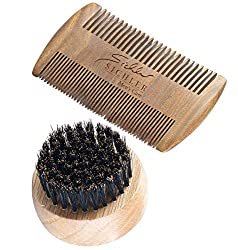 Sichler Men's Care Bartkamm: Bartpflege-Set: 2-seitiger Holzkamm & Bartbürste (Wildschweinborsten) (Kamm)