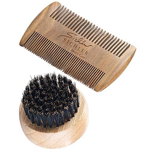 Sichler Men\'s Care Bartkamm: Bartpflege-Set: 2-seitiger Holzkamm & Bartbürste (Wildschweinborsten) (Kamm)