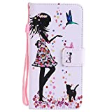 for ZTE Axon 7 Case ZTE Axon 7 Wallet Case【Olier】 Girl and cat Creative Painted PU Leather Purse Credit Card Holders Magnetic Flip Cover Holster for ZTE Axon 7