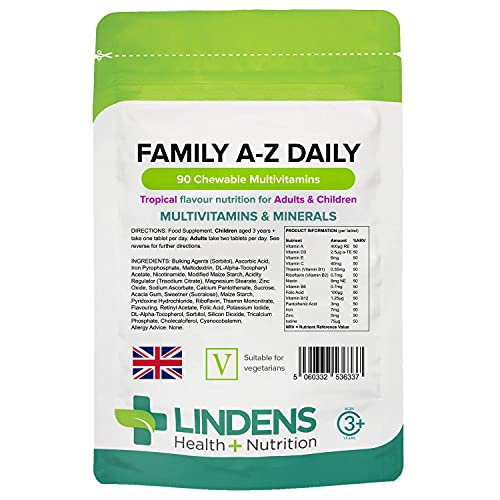 Lindens Family A-Z Daily Chewable Multivitamins and Minerals - 90 Tablets for Adults and Children - Tropical Flavour - Healthy Growth, Development & Immune System - UK Manufacturer, Letterbox Friendly