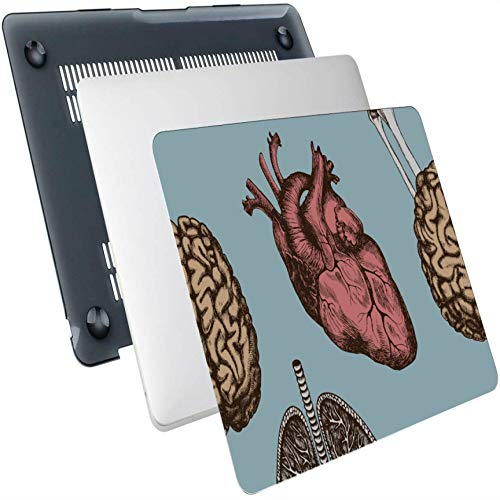 Cubierta para computadora portátil Moda Retro Órganos Humanos Corazón Huesos Plástico Carcasa rígida Compatible Mac Air 13'Pro 13' / 16'Funda Macbook Pro Shell Funda Protectora para Macbook Versión