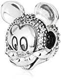 Disney Mickey - Clip de plata con circonita cúbica transparente