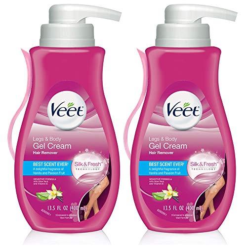 Hair Removal Cream – VEET Silk and Fresh Technology Legs & Body Gel Cream Hair Remover, Sensitive Formula with Aloe Vera and Vitamin E, Pump Bottle, 13.5 Fl Oz (Pack of 2)