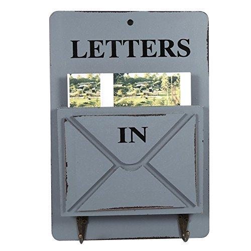 Aramox Boîte aux Lettres en Bois Porte-courrier Mural et Porte clés Mural Décoration de la Maison avec Corchet(Gris)