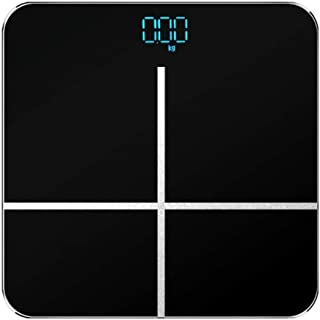 YQSHYP Weight Scale, High Precision Square Digital Body Weight Scales Bathroom Scales with LED Hidden Screen, Slim Design,Easy to Read Digital Display - Tempered Glass