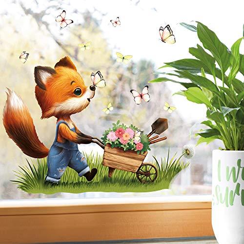 Wandtattoo Loft Fensterbild Frühling Ostern wiederverwendbar Fensteraufkleber Kinderzimmer Fuchs Schubkarre Schmetterlinge Babyzimmer/Fuchs Schubkarre (1028) / 1. DIN A4 Bogen