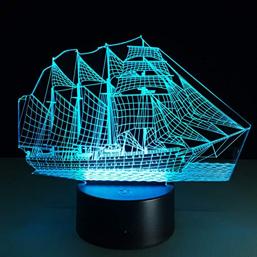 Zyue Sailing Boat 7 Color Lamp 3D Visual Led Night Lights For Kids Touch Usb,Touch 7 Colors