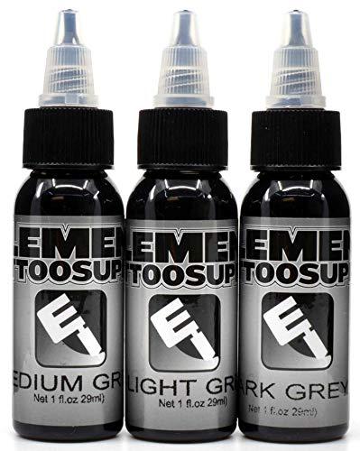 Element Tattoo Supply Gray Wash Tattoo Ink Set Light Greywash Medium Shading Dark Grey Blend 1oz Set