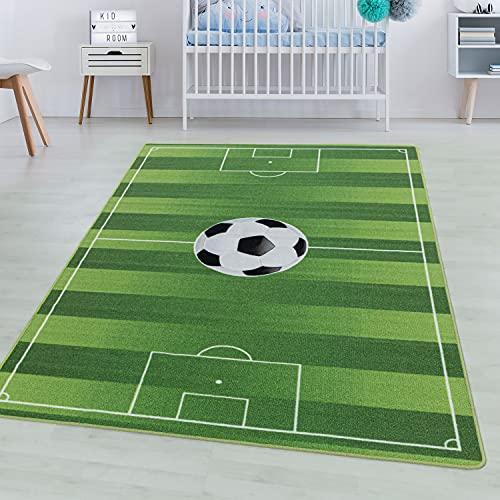 SIMPEX Spielteppich Kurzflor Teppich Kinderteppich Kinderzimmer Fussball Stadion Grün, Farbe:Grün, Grösse:140x200 cm