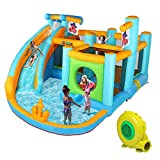 JOYMOR Inflatable Water Slide Park, Pirate Themed Bounce House w/ Obstacle Wall, Water Gun, Splash Pool, Water Slide Bouncer Castle Outdoor Backyard Playhouse for Kids (Included Blower)