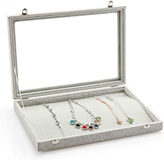 Stylifing Glass Top Velvet 20 Hooks Jewelry Tray for Necklaces Jewelry Case Stackable Showcase Display Storage Box Lockable for Women Girls