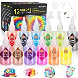 Tie Dye DIY Kit, Emooqi 12 Colors Tie Dye Shirt Fabric Dye for Women, Kids, Men, with Rubber Bands, Gloves, Plastic Film and Table Covers for Family Friends Group Party Supplies