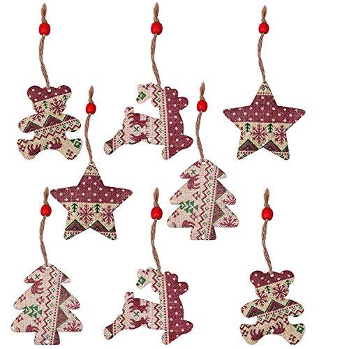 Adornos Arbol Navidad (8 Piezas) - Adornos Navideños Arpillera Rustica Set Decoracion Arbol Navidad- Pendiente Colgante, Cajas de Regalos, Formas (Estrella, Oso de Peluche, Árbol de Navidad, Rudolph)